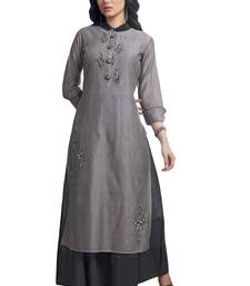 Women's Grey & Cream Embroidered Readymade Suit Set