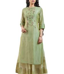 Women's Green Embroidered Readymade Suit Set