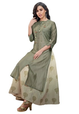 Women's Bronze Green & Beige Embroidered Readymade Suit Set