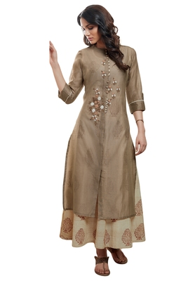 Women'S Cofee & Cream Embroidered Readymade Suit Set