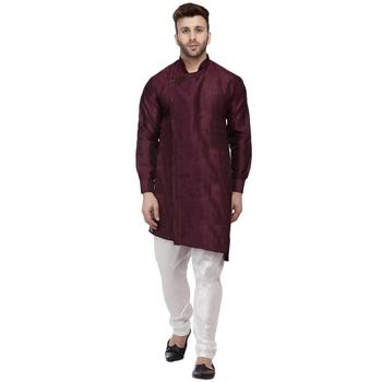 Purple plain dupion silk men-kurtas
