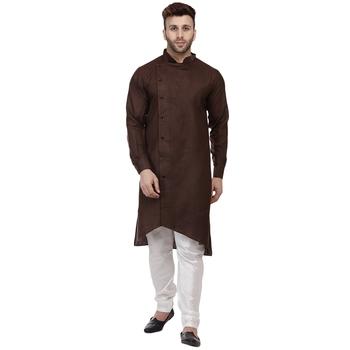 Brown plain cotton men-kurtas