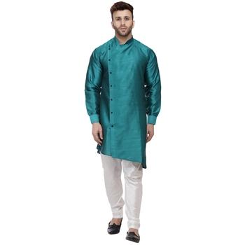 Green plain dupion silk men-kurtas