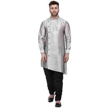 Grey plain dupion silk men-kurtas