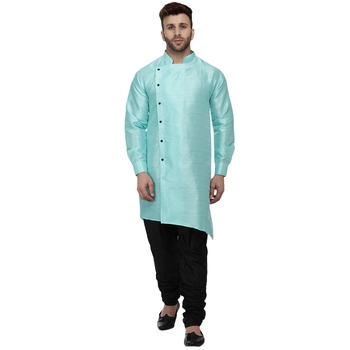 Green plain dupion silk men-kurtas