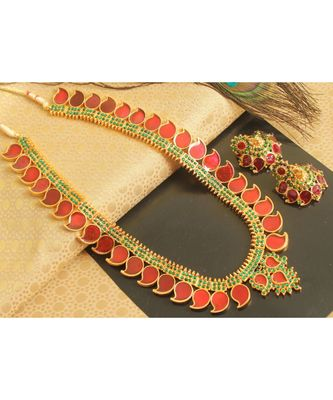 Beautiful Red Green Mango Palakka Haar Set