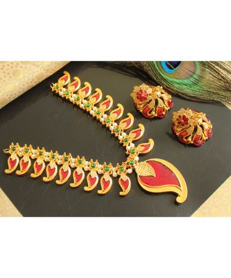 Mesmerising Handmade Maroon Mango Necklace Set