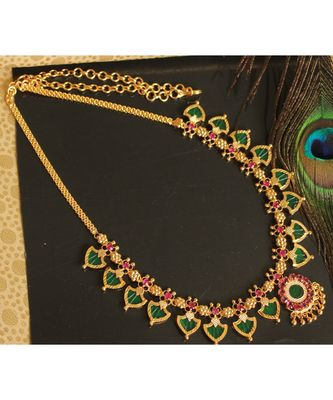 Beautiful Pink Green Palakka Designer Necklace