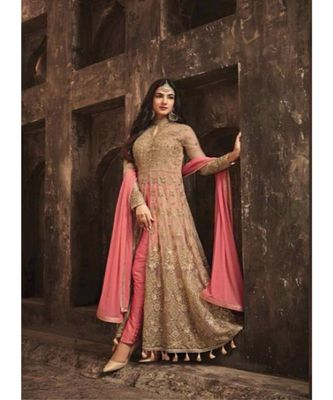 Pink Embroidered Net Semi Stiched Salwar With Dupatta