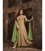 Buy Green Embroidered Net Semi Stiched Salwar with Dupatta