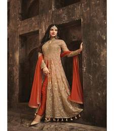 Orange Embroidered Net Semi Stiched Salwar with Dupatta