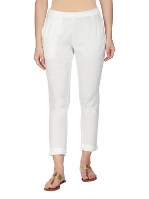 Women White Regular Fit Solid Cigarette Trousers