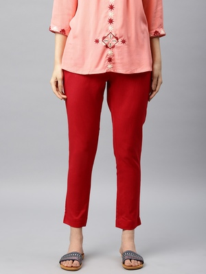 Women Red Regular Fit Solid Cigarette Trousers