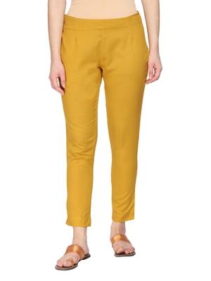 Women Mustard Regular Fit Solid Cigarette Trousers
