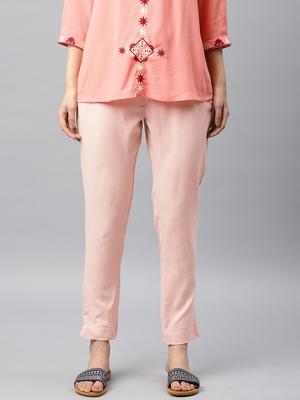 Women Peach-Coloured Regular Fit Solid Cigarette Trousers
