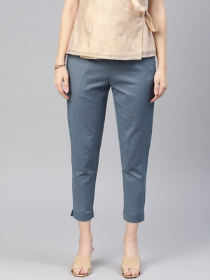 Women Blue Slim Fit Solid Cropped Cigarette Trousers