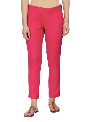 Women Pink Regular Fit Solid Cigarette Trousers