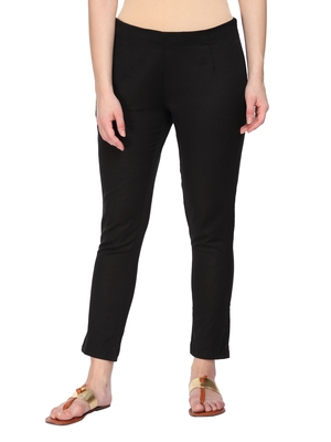Women Black Regular Fit Solid Cigarette Trousers