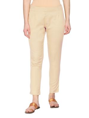 Women Beige Regular Fit Solid Cigarette Trousers
