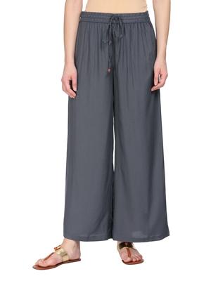 Women Charcoal Grey Solid Wide Leg Palazzos