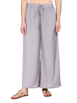 Women Grey Solid Wide Leg Palazzos