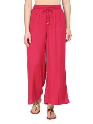 Women Pink Wide Leg Solid Palazzos