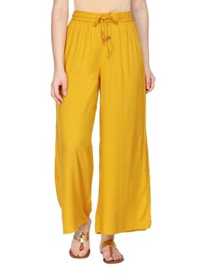 Women Mustard Yellow Solid Wide Leg Palazzos