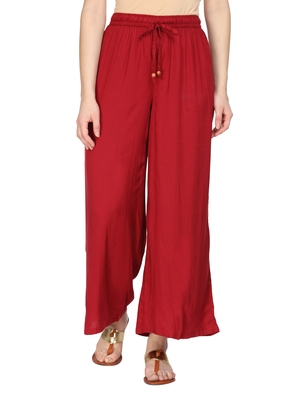 Women Red Solid Wide Leg Palazzos