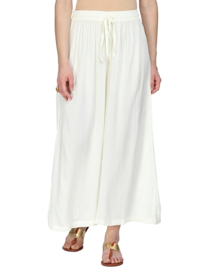 Women Off-White Wide Leg Solid Palazzos