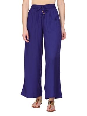 Women Blue Solid Wide Leg Palazzos