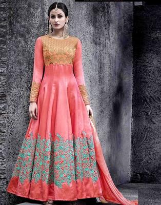 Peach embroidered silk blend salwar