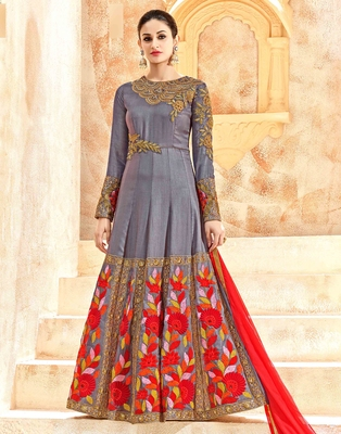 Grey embroidered pure silk salwar
