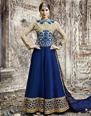 Navy-blue embroidered georgette salwar