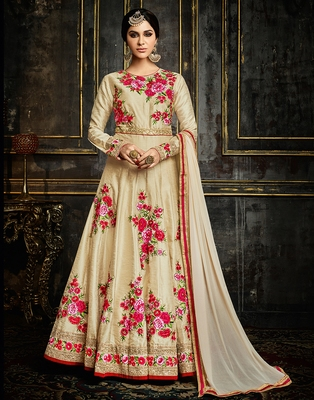 Cream embroidered silk blend salwar