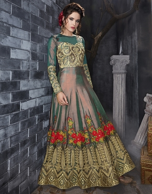 Green embroidered silk blend salwar
