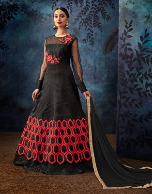 Black embroidered organza salwar