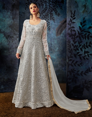 Grey embroidered organza salwar