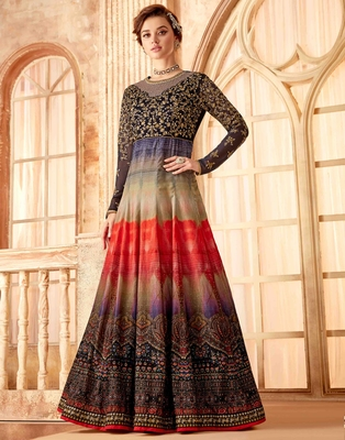Multicolor embroidered velvet salwar