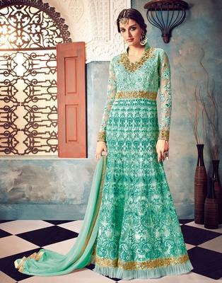 Sky-blue embroidered net salwar