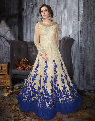Multicolor embroidered net salwar