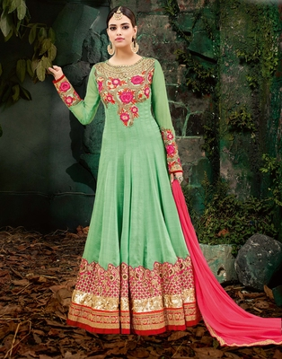Green embroidered chiffon salwar