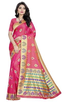 Peach plain art silk sarees saree with blouse