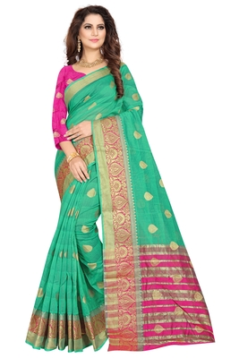 Sea green plain cotton silk saree with blouse