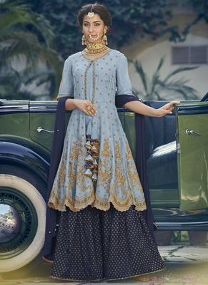 Light-lavender thread embroidery georgette salwar