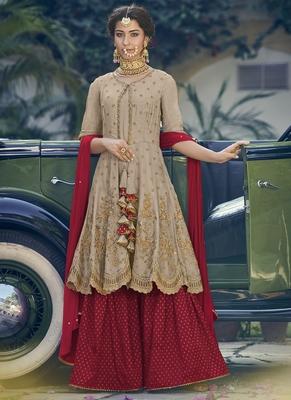 Beige thread embroidery georgette salwar