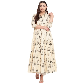 Beige printed cotton kurtas and kurtis