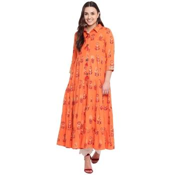 Orange printed cotton kurtas and kurtis