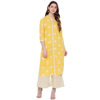 Yellow printed cotton kurtas and kurtis