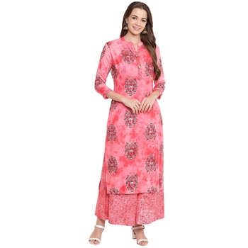 Pink printed rayon kurtas and kurtis