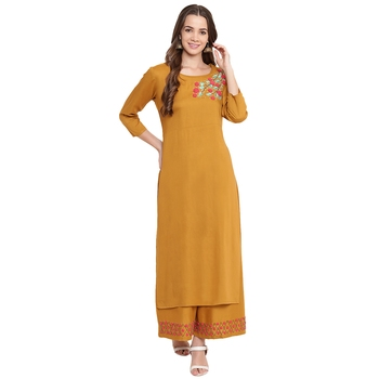 Yellow embroidered rayon kurtas and kurtis